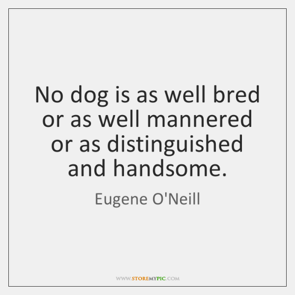 No dog is as well bred or as well mannered or as ...
