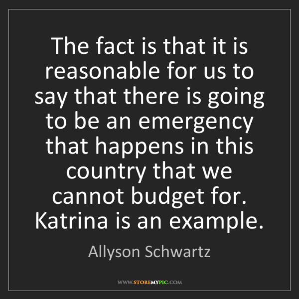 Allyson Schwartz: The fact is that it is reasonable for us to say that...