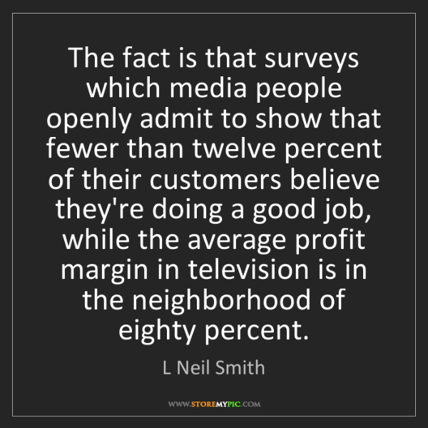 L Neil Smith: The fact is that surveys which media people openly admit...
