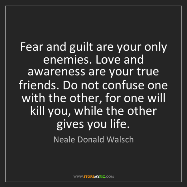 Neale Donald Walsch: Fear and guilt are your only enemies. Love and awareness...