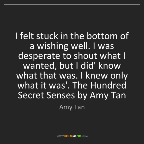 Amy Tan: I felt stuck in the bottom of a wishing well. I was desperate...