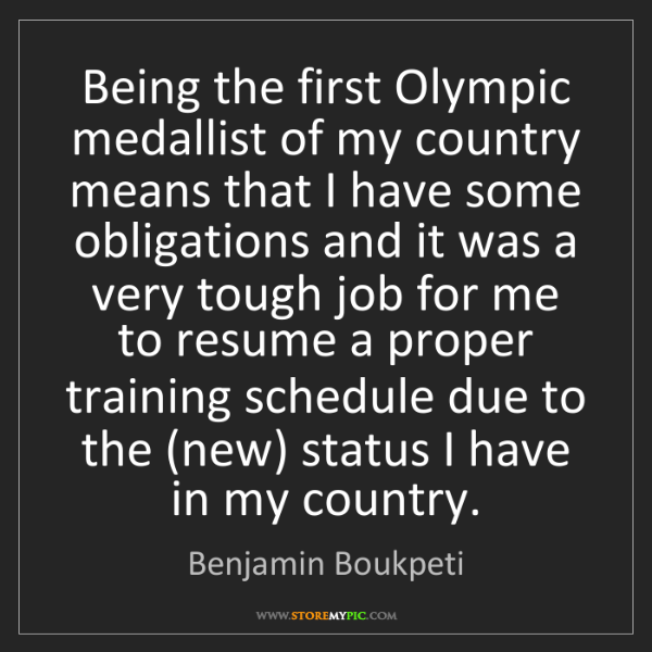 Benjamin Boukpeti: Being the first Olympic medallist of my country means...