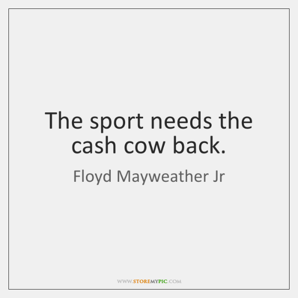 The sport needs the cash cow back.