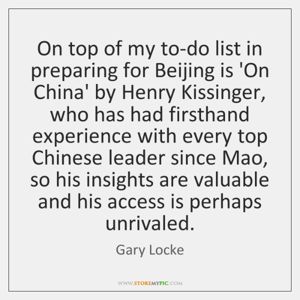On top of my to-do list in preparing for Beijing is 'On ...