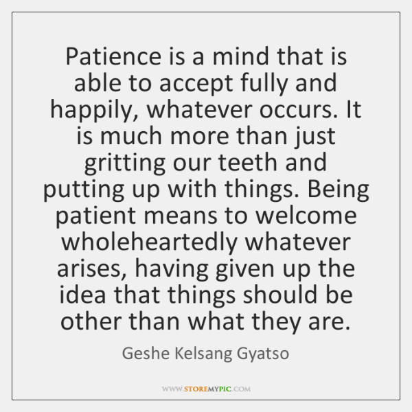 Patience is a mind that is able to accept fully and happily, ...