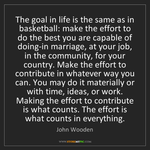 John Wooden: The goal in life is the same as in basketball: make the...