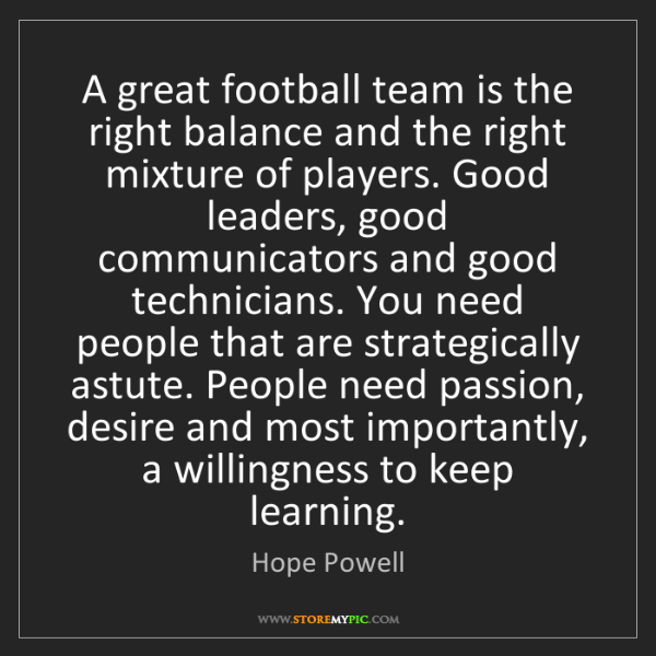 Hope Powell: A great football team is the right balance and the right...