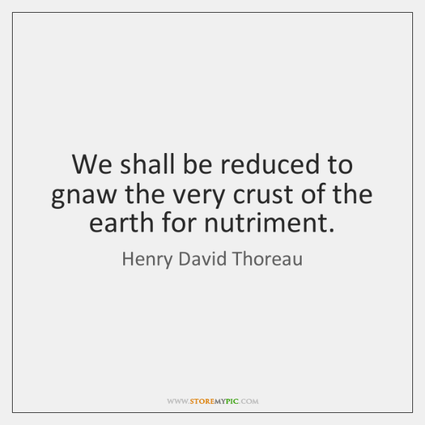 We shall be reduced to gnaw the very crust of the earth ...