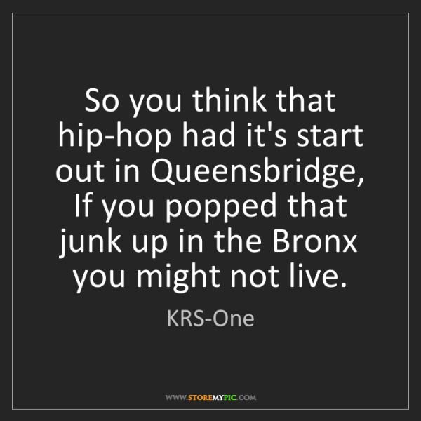 KRS-One: So you think that hip-hop had it's start out in Queensbridge,...
