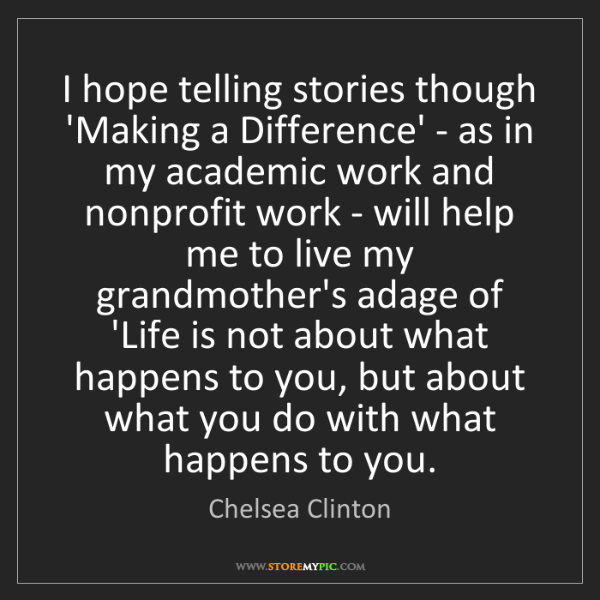 Chelsea Clinton: I hope telling stories though 'Making a Difference' -...