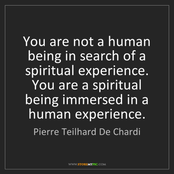 Pierre Teilhard De Chardi: You are not a human being in search of a spiritual experience....