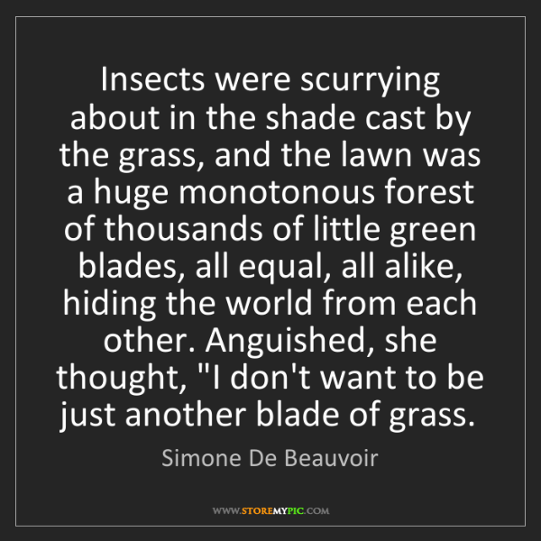Simone De Beauvoir: Insects were scurrying about in the shade cast by the...