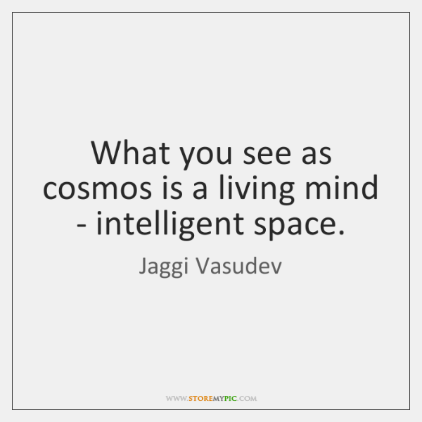 What you see as cosmos is a living mind - intelligent space.