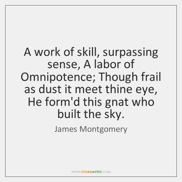 A work of skill, surpassing sense, A labor of Omnipotence; Though frail ...