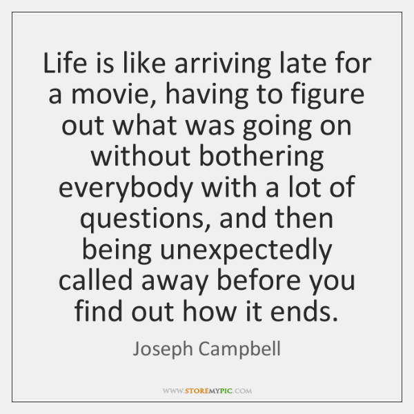 Life is like arriving late for a movie, having to figure out ...