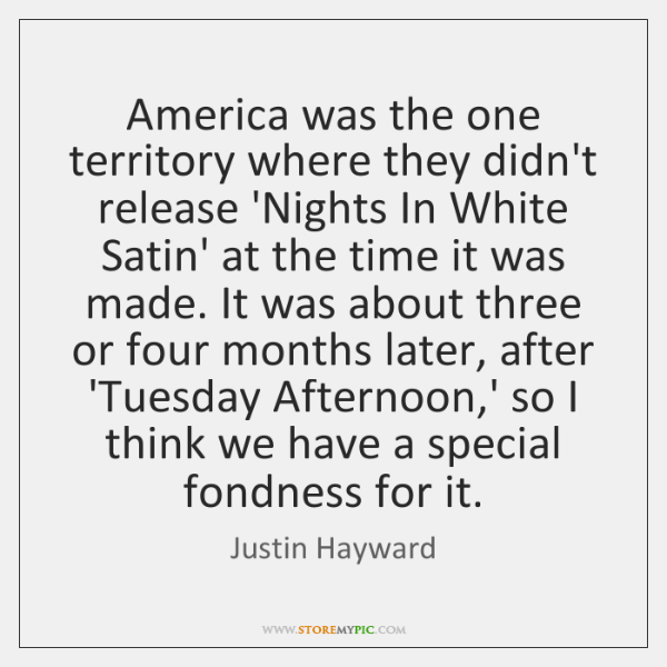 America was the one territory where they didn't release 'Nights In White ...
