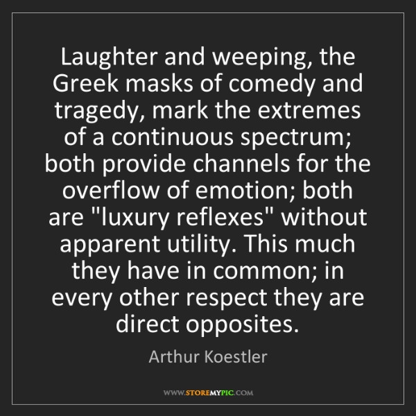 Arthur Koestler: Laughter and weeping, the Greek masks of comedy and tragedy,...