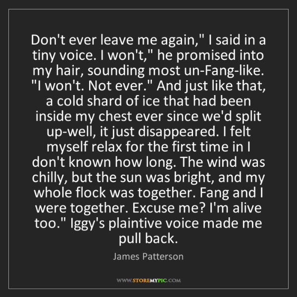 """James Patterson: Don't ever leave me again,"""" I said in a tiny voice. I..."""