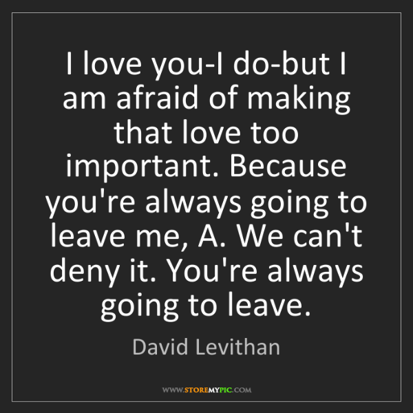David Levithan: I love you-I do-but I am afraid of making that love too...