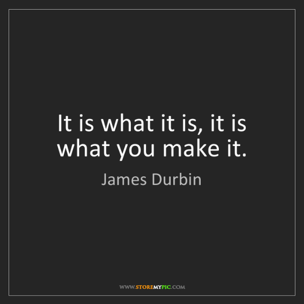 James Durbin: It is what it is, it is what you make it.