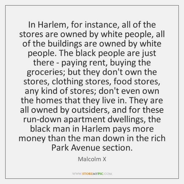 In Harlem, for instance, all of the stores are owned by white ...