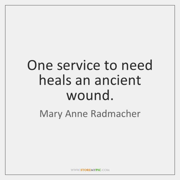 One service to need heals an ancient wound.