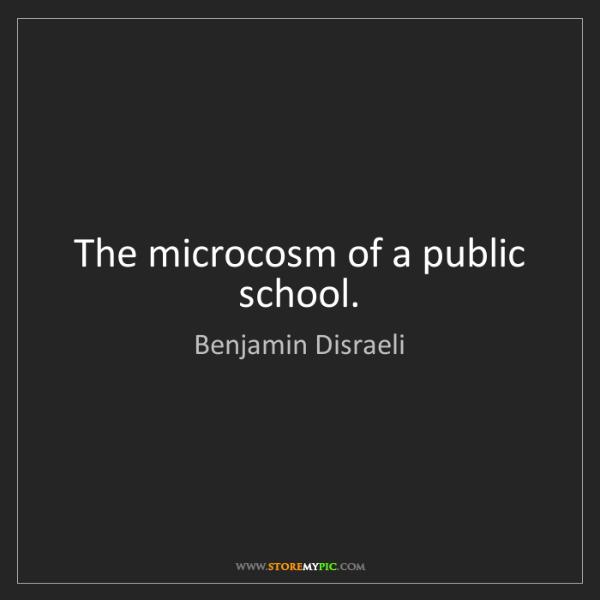Benjamin Disraeli: The microcosm of a public school.