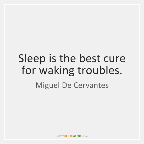 Sleep is the best cure for waking troubles.