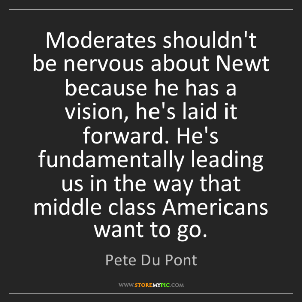 Pete Du Pont: Moderates shouldn't be nervous about Newt because he...