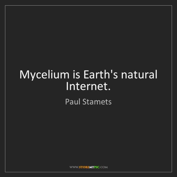 Paul Stamets: Mycelium is Earth's natural Internet.