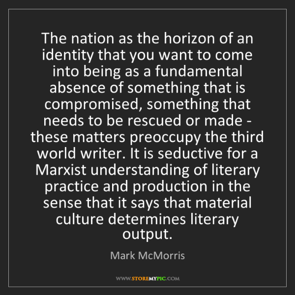 Mark McMorris: The nation as the horizon of an identity that you want...