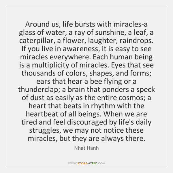 Around us, life bursts with miracles-a glass of water, a ray of ...