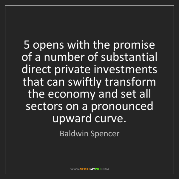 Baldwin Spencer: 5 opens with the promise of a number of substantial direct...
