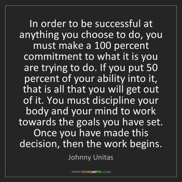 Johnny Unitas: In order to be successful at anything you choose to do,...