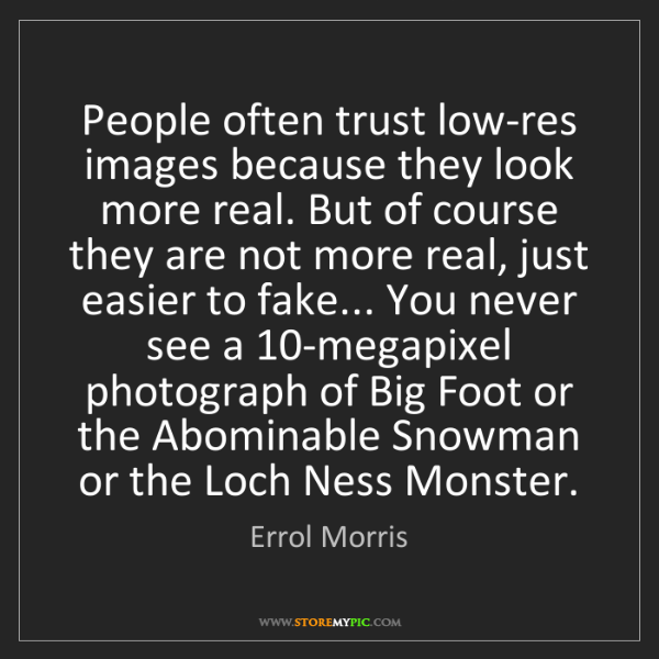 Errol Morris: People often trust low-res images because they look more...
