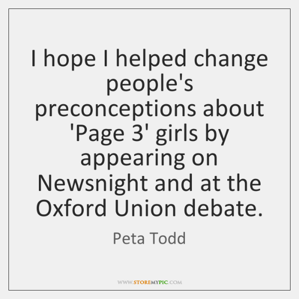 I hope I helped change people's preconceptions about 'Page 3' girls by ...