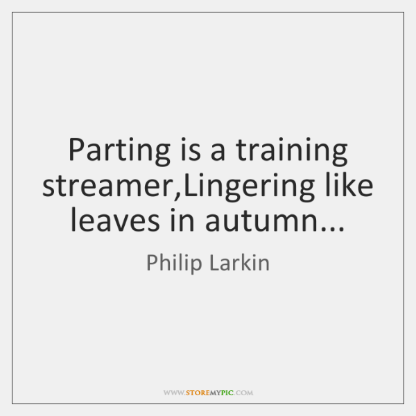 Parting is a training streamer,Lingering like leaves in autumn...