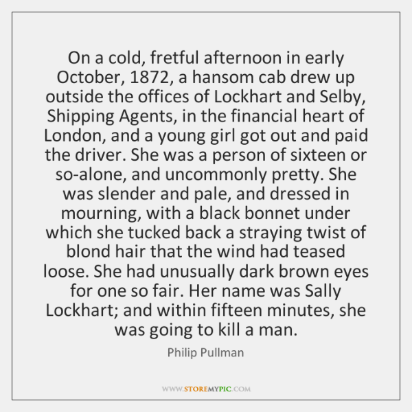 On a cold, fretful afternoon in early October, 1872, a hansom cab drew ...