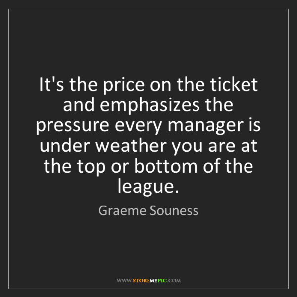 Graeme Souness: It's the price on the ticket and emphasizes the pressure...