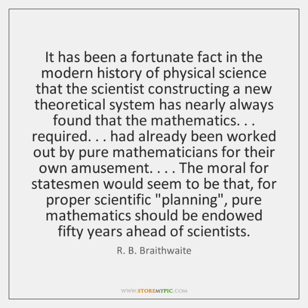 It has been a fortunate fact in the modern history of physical ...