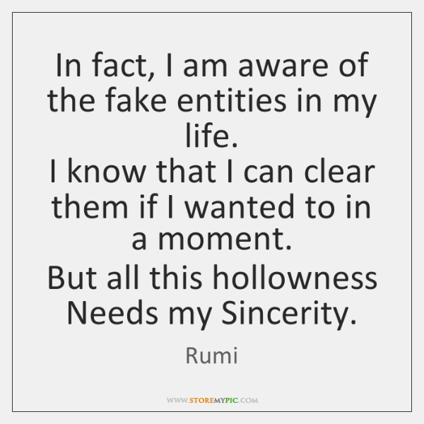 In fact, I am aware of the fake entities in my life.   ...