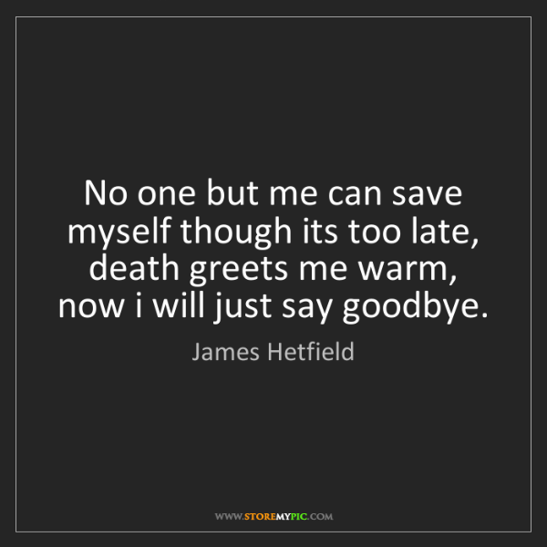 James Hetfield: No one but me can save myself though its too late, death...