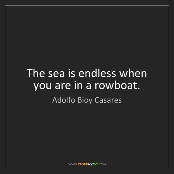 Adolfo Bioy Casares: The sea is endless when you are in a rowboat.