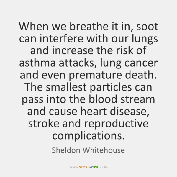 When we breathe it in, soot can interfere with our lungs and ...