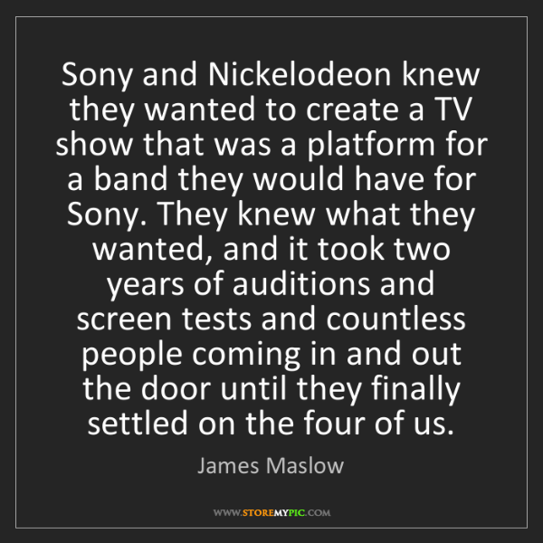 James Maslow: Sony and Nickelodeon knew they wanted to create a TV...