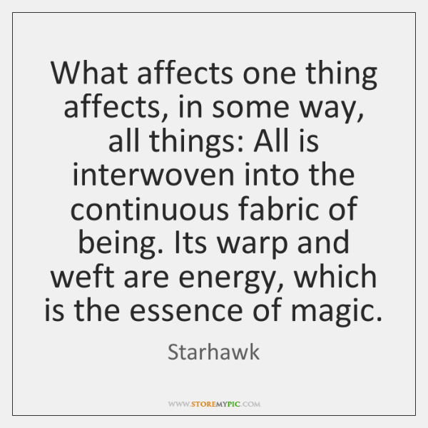 What affects one thing affects, in some way, all things: All is ...
