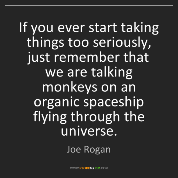 Joe Rogan: If you ever start taking things too seriously, just remember...