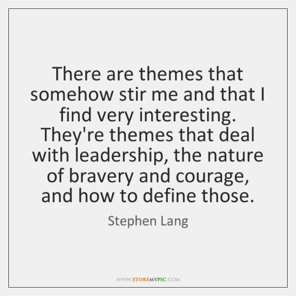 There are themes that somehow stir me and that I find very ...