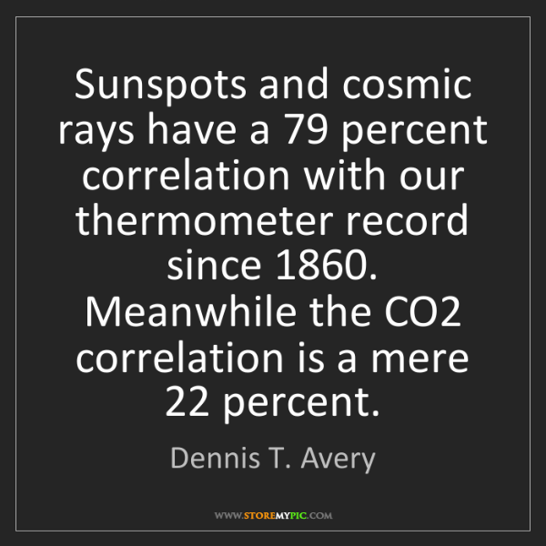 Dennis T. Avery: Sunspots and cosmic rays have a 79 percent correlation...