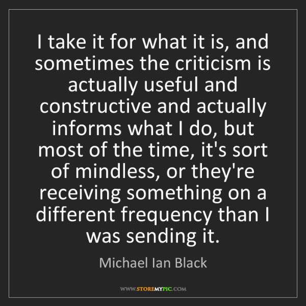 Michael Ian Black: I take it for what it is, and sometimes the criticism...